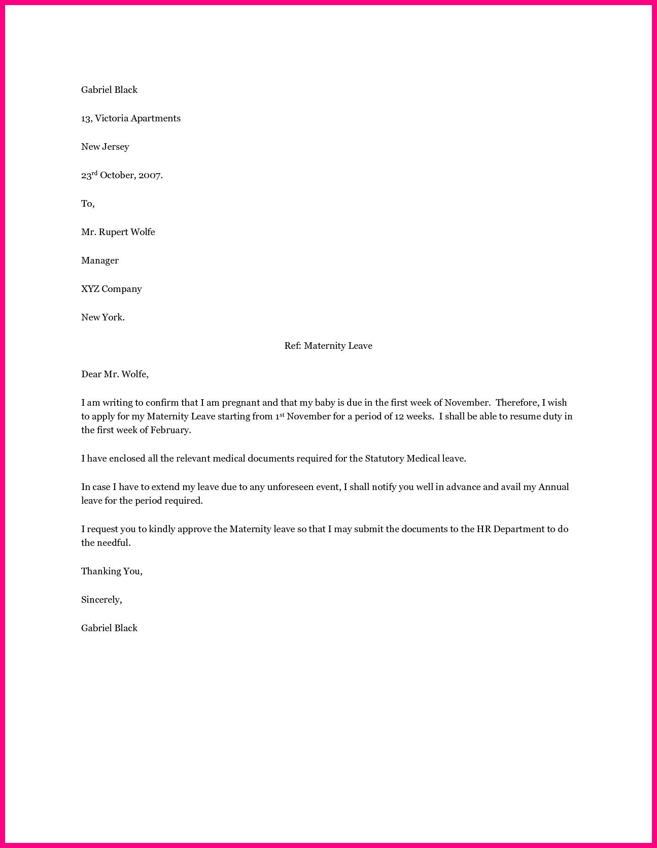 employee maternity leave letter sample application format