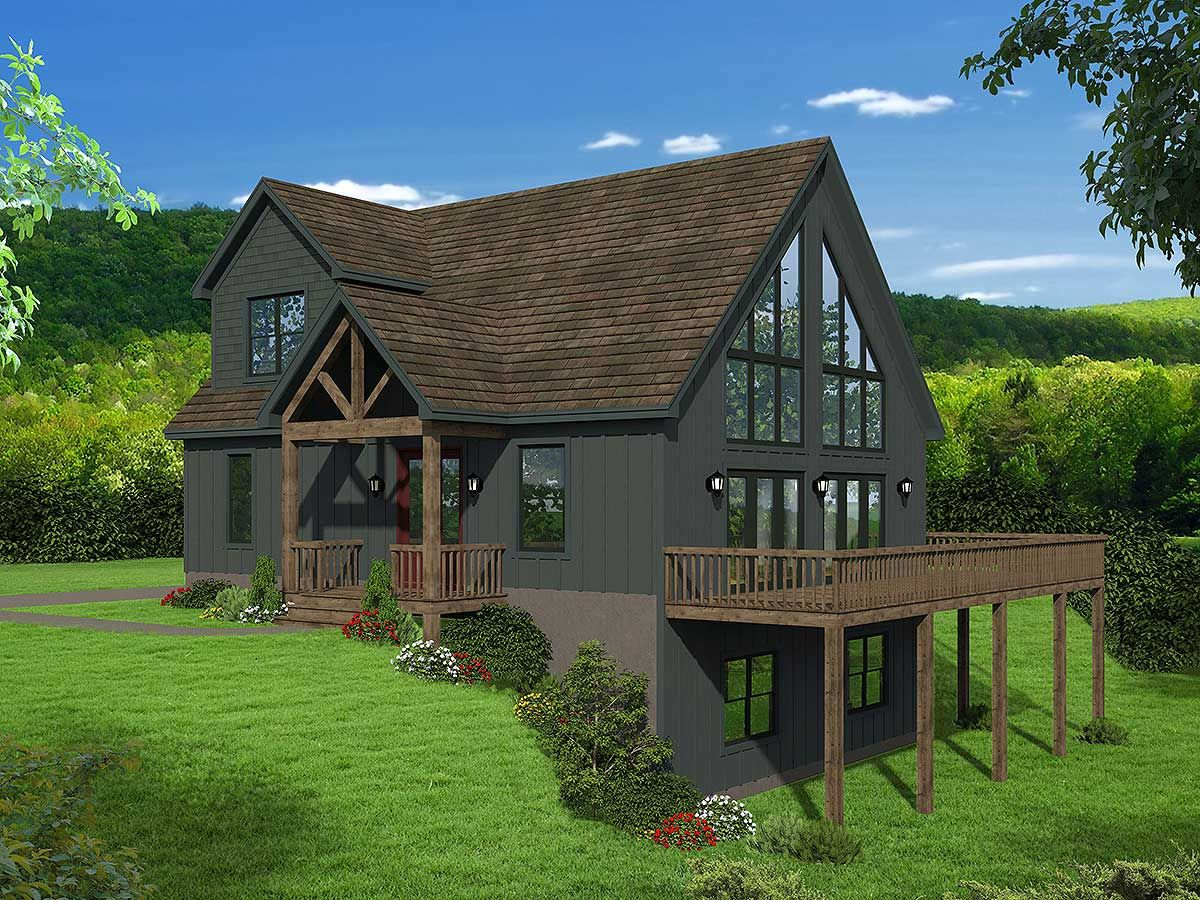 Plan 68622VR: Two-story Mountain Home Plan with Vaulted Master Loft
