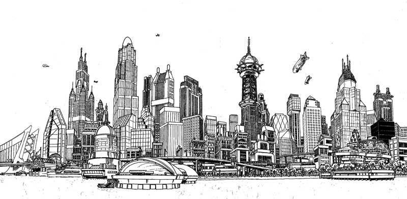 DC Comics Gotham City Skyline   Gotham city, Stadt ...
