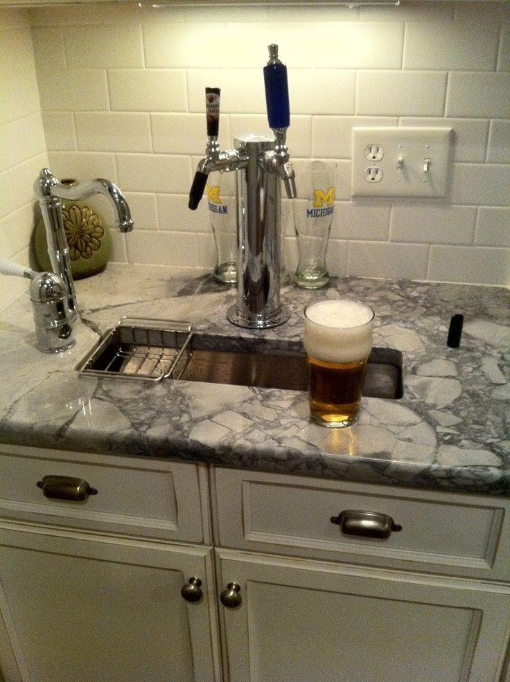 Home Brew Tap Integrated Into Small Sink For The Butlers Pantry   As  Requested By The Hubs. Maybe I Can Sneak Sparkling Water Onto One Of The  Taps.