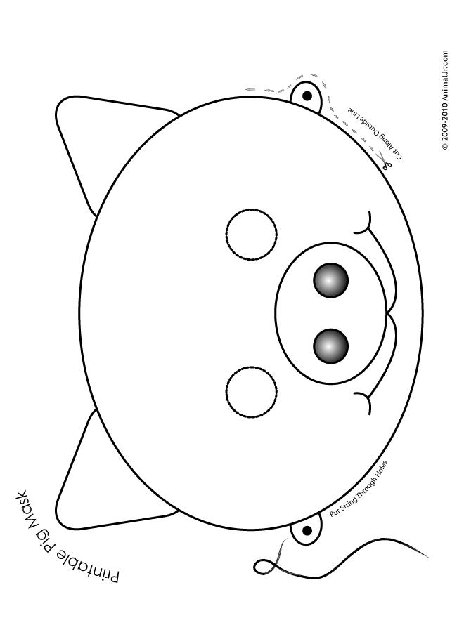 Printable Pig Mask   Coloring Page | alfabeto ilustrado