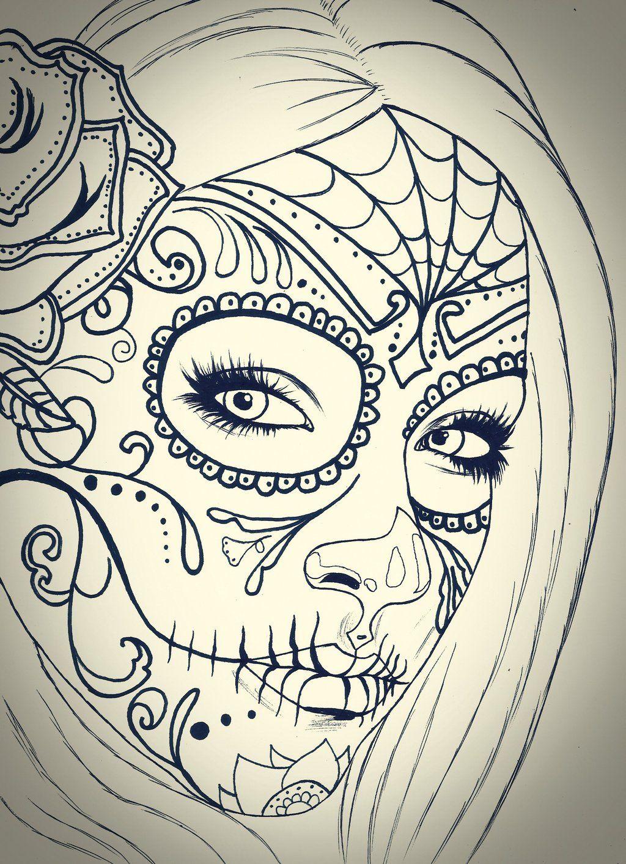 Skull girl sketch by carldraw.deviantart.com on @deviantART ...