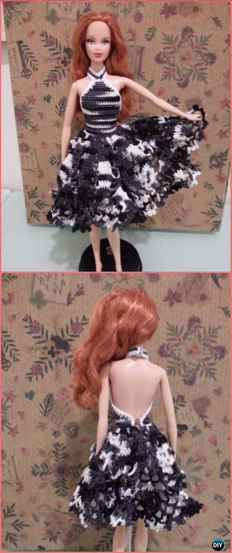 Crochet Barbie Doily Cocktail Dress Free Pattern Crochet Doll