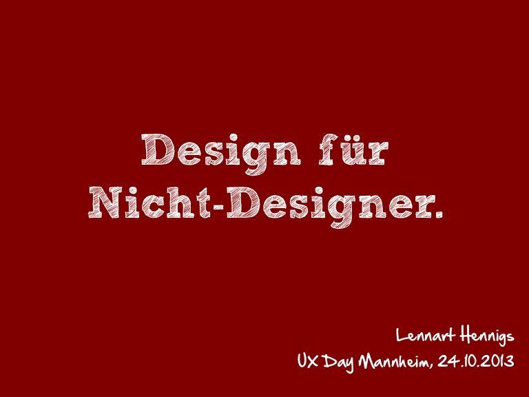 Design für Nicht-Designern @ UX-Day Mannheim
