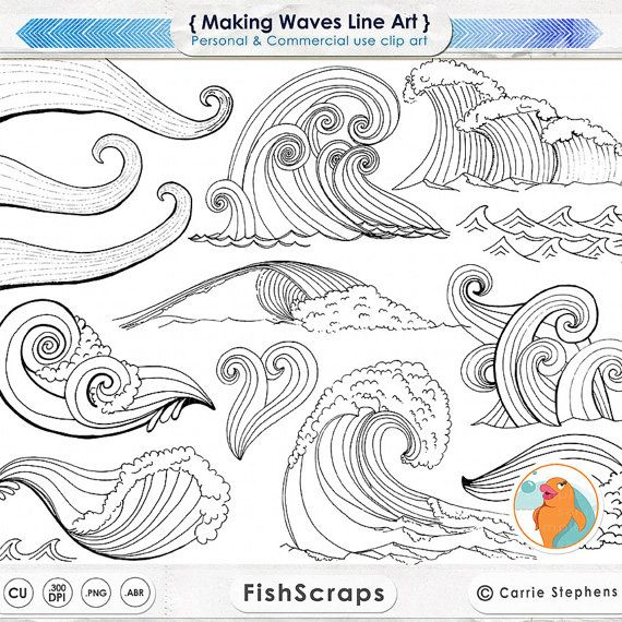 Wave Line Art Silhouettes Water Clip Art Coastal Clipart Etsy Line Art Photoshop Watercolor Wave Beach Illustration