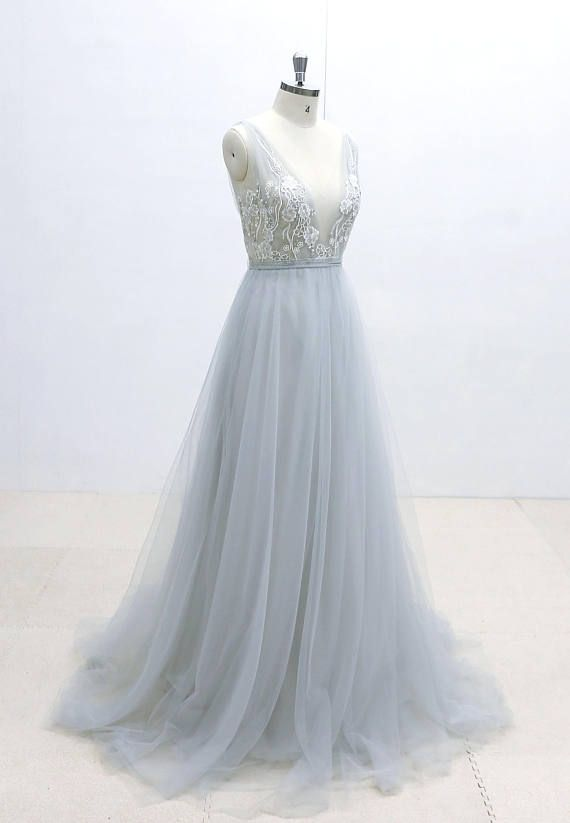 Ivory Lace Wedding Dress with Silver Thread Binding Dusty Blue ...