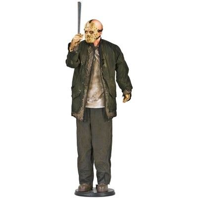 halloween prop bloody gemmy animated jason voorhees life size corpse friday 13th - Animated Halloween Decorations