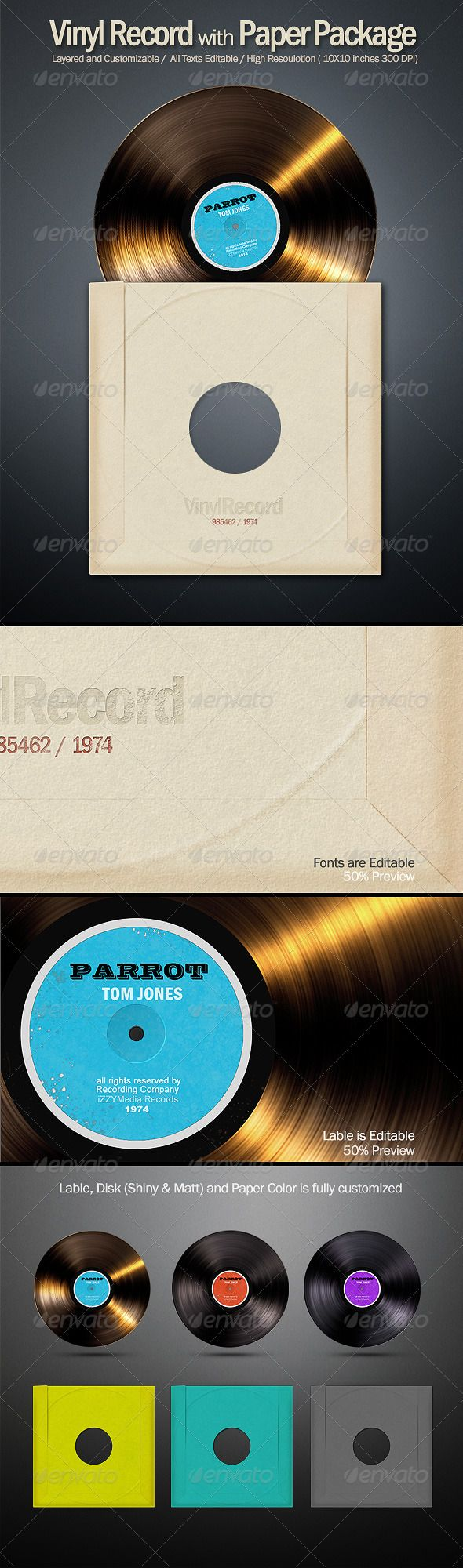 Vinyl Record Disk Vinyl Records Vinyl Business Card Mock Up