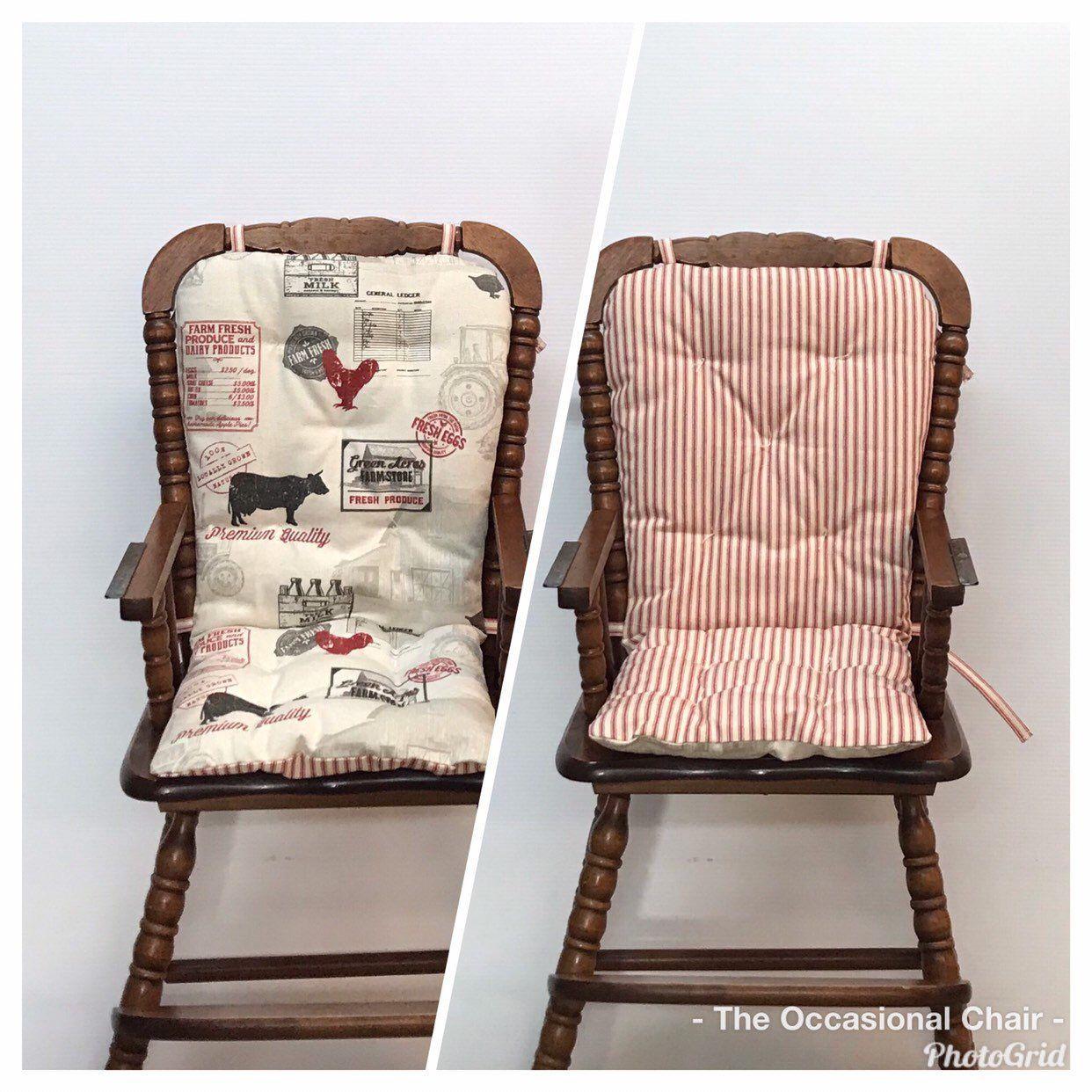 Farmhouse style reversible highchair cushion custom made