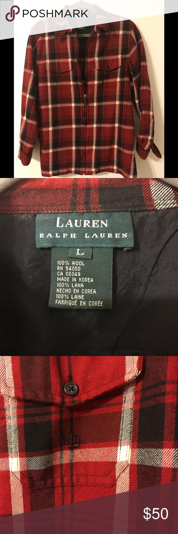 Red and black flannel cardigan  Ralph Lauren Wool Flannel  Flannels Dress shirts and Red black