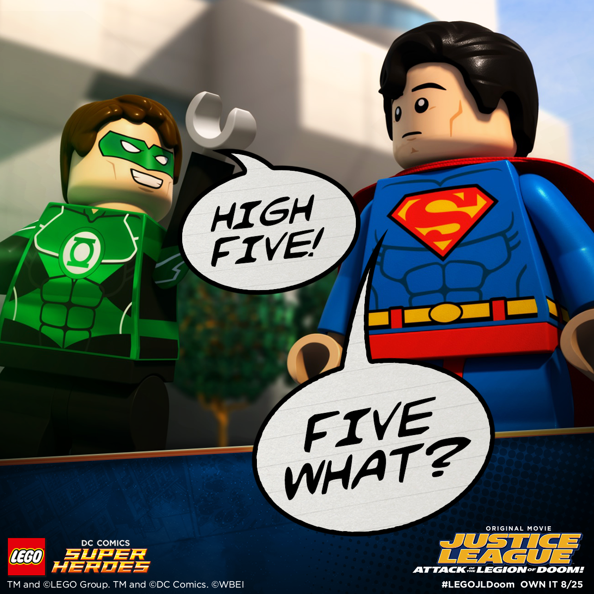 Green Lantern is congratulating Superman on picking up his copy of ...