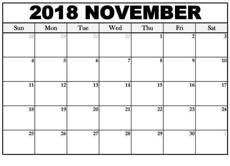 November kalender 2018 Word Vorlage Kalender Pinterest November