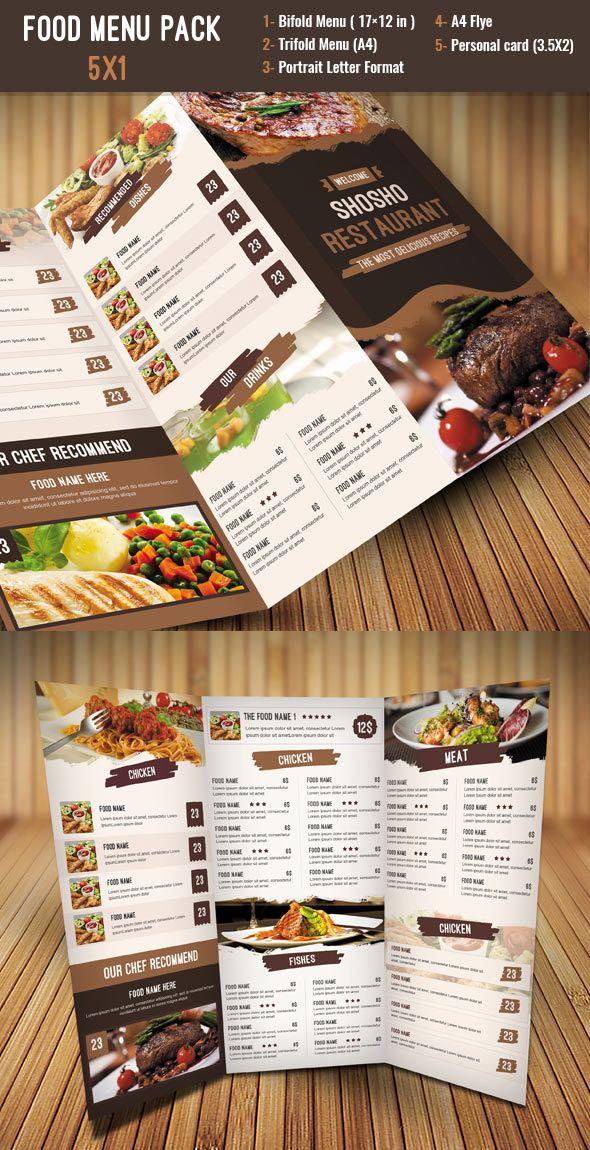 Food Menu Template Pack Creative Menu Templates Pinterest Menu - Creative menu design templates