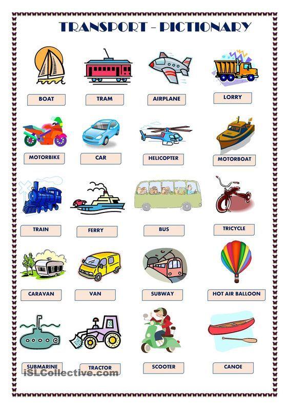 Transport Pictionary Eng Pinterest Worksheets Printable