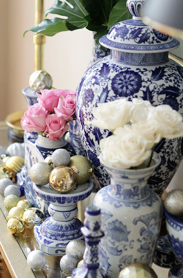 Holiday Home Tour, Blue and White, Ginger Jar, Christmas Tree