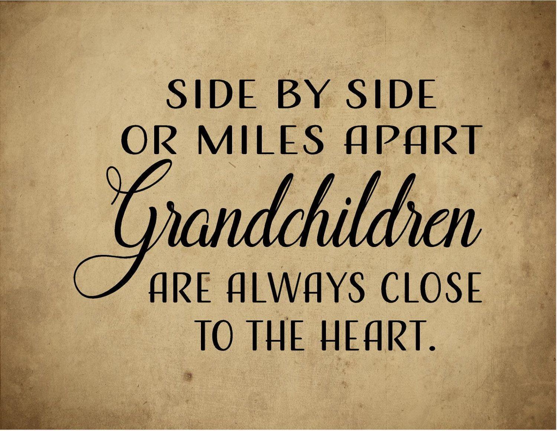 Side by Side Grandchildren Close Heart Wood Sign Canvas Wall Art ...