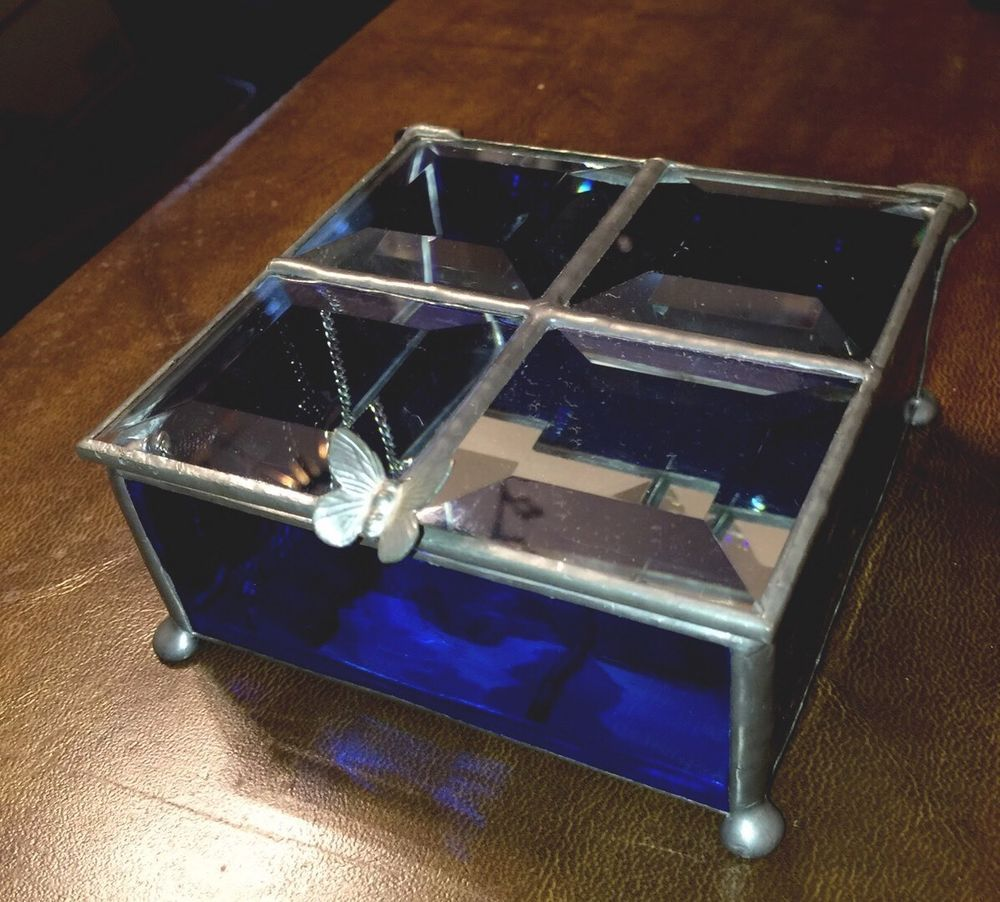 SILVER BLUE STAINED GLASS TRINKET JEWELRY BOX WBEVELED GLASS