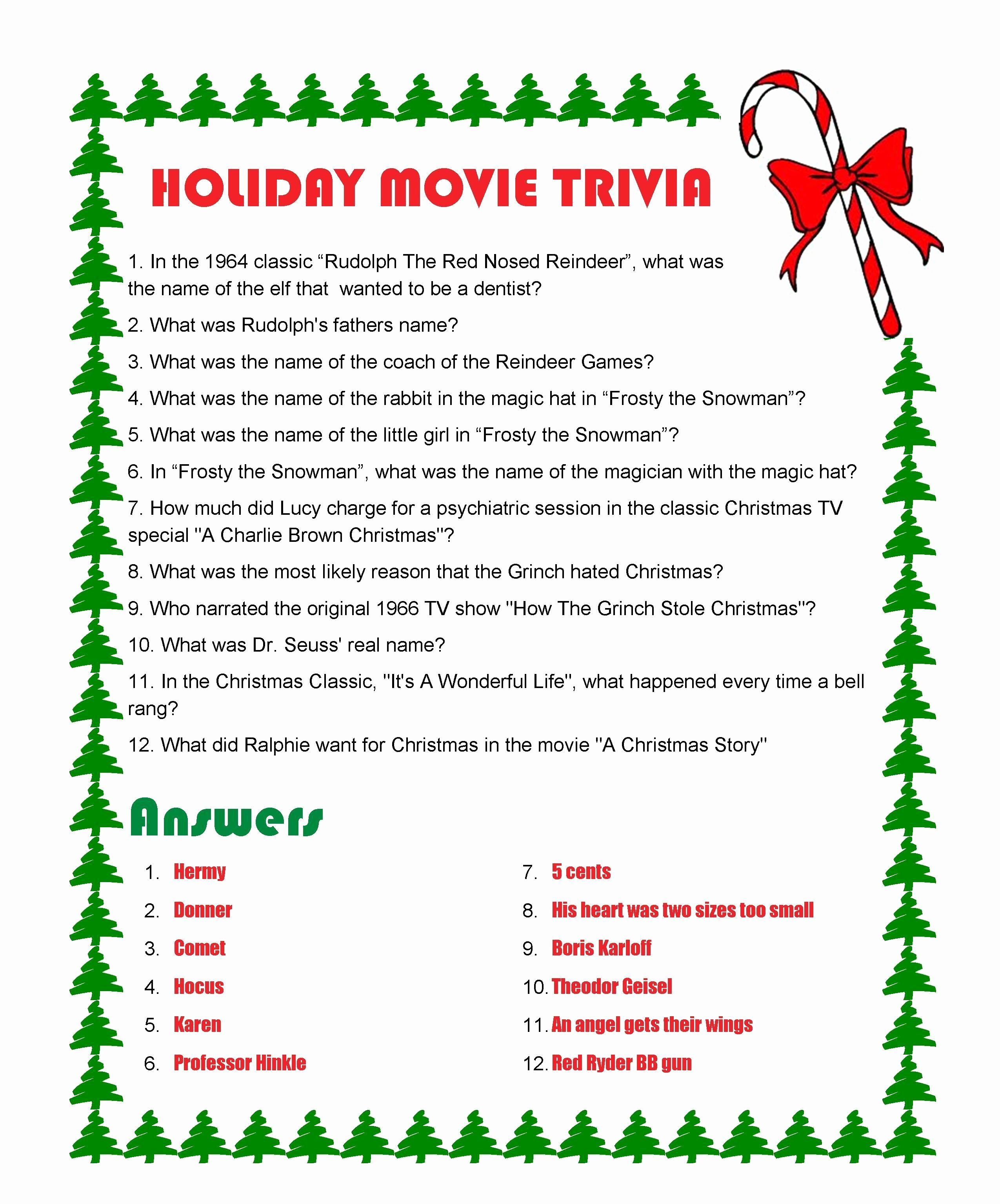 Christmas Quiz Questions And Answers Printable