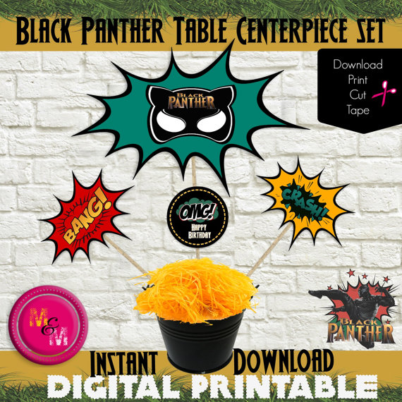 Black Panther Birthday Party Centerpiece Printable Set- Instant