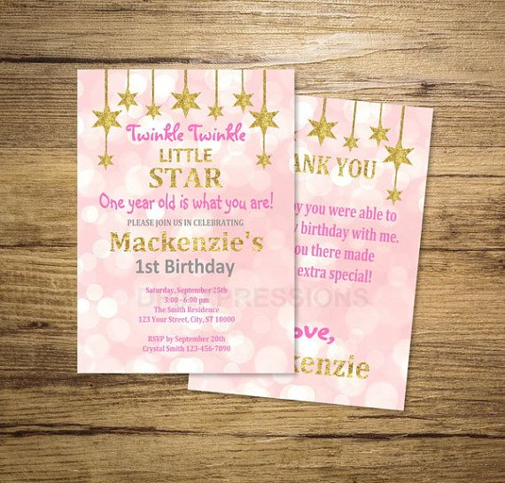Twinkle Twinkle Little Star Invitation, First, Any Age 1st Birthday Party Invitation, Pink, Gold Glitter Invitation, Digital or Printed
