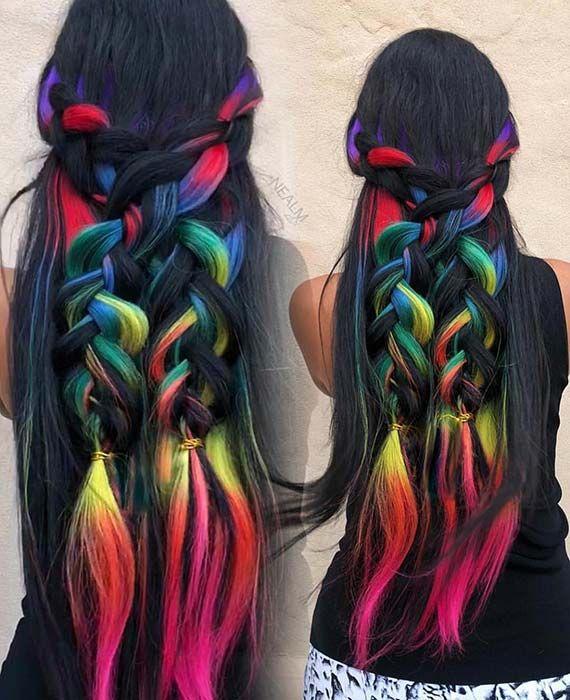 bright hair colors on pinterest bright hair rainbow hair and 23 rainbow hair ideas for a bold change up hair tutorial