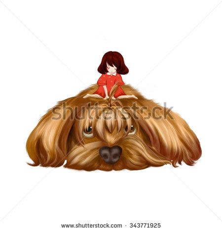 Illustration: The Big Dog and the Little Girl. The little girl sit on the big dog's hair and think to make it a pigtail. Realistic Fantastic Cartoon Style Wallpaper / Scene / Background / Card Design. - stock photo