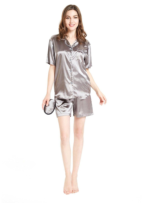 654936dd65f3 Silky Satin Pajamas For Women- Short Button-Down PJ Set With Mask - Medium  Gray - C91803896K6