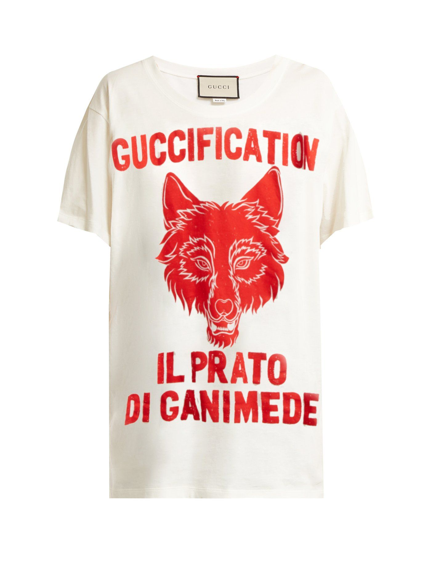 a4966688 Wolf-print cotton-jersey T-shirt | Gucci | MATCHESFASHION.COM | Tees ...