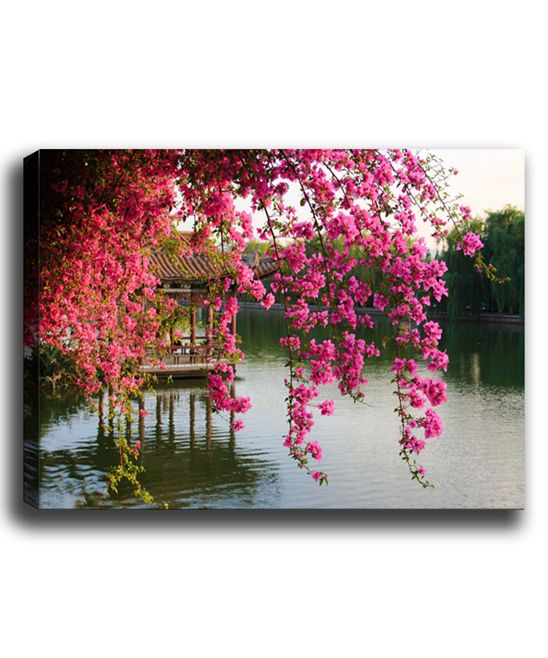 Pink Flowers Over River Wrapped Canvas