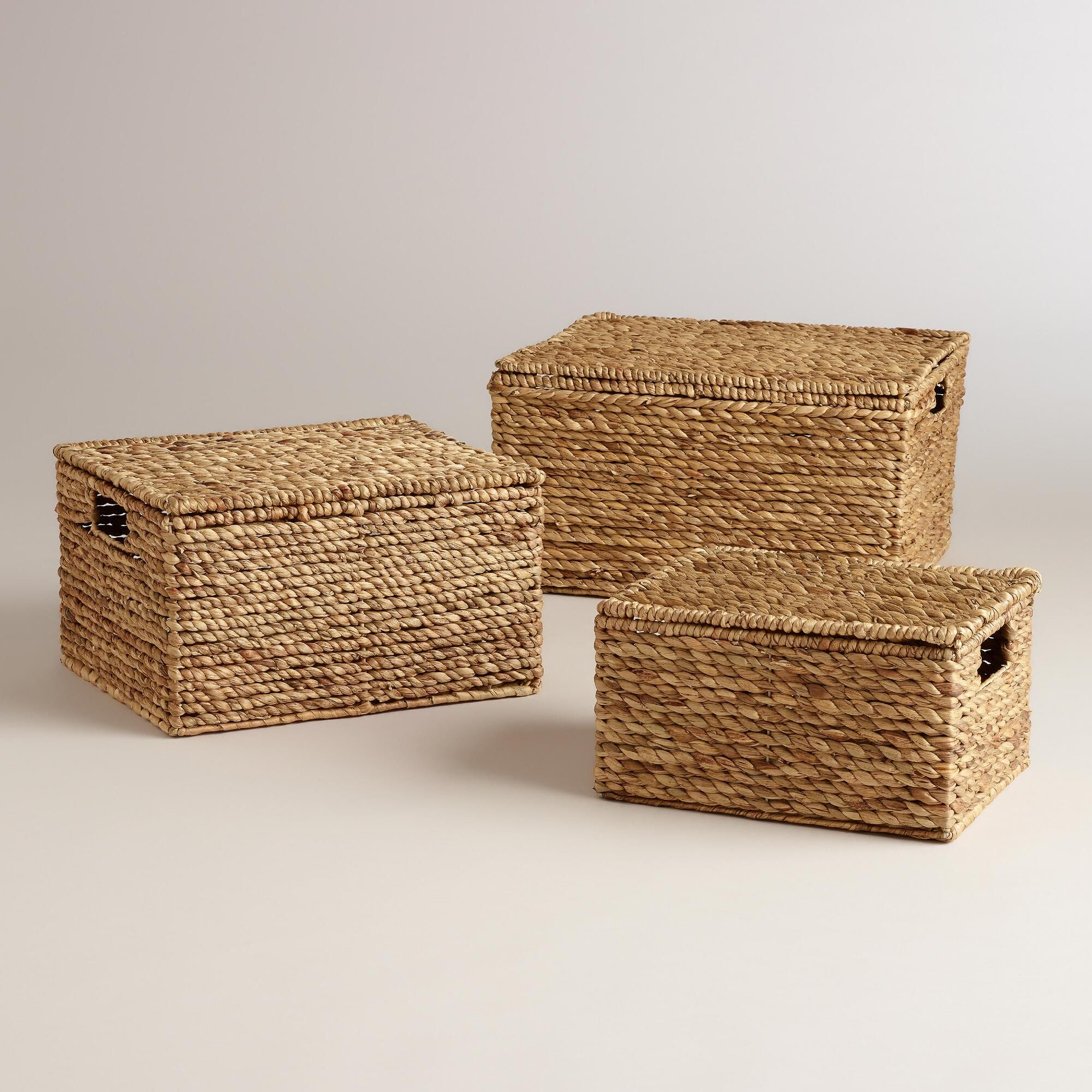 Wholesale Decorative Boxes And Baskets Natural Water Hyacinth Lidded Janina Utility Baskets  Shelving