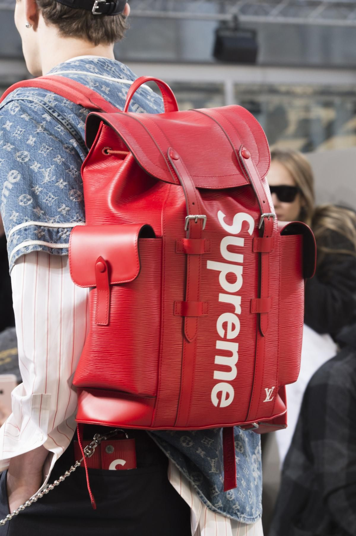 A look from the Louis Vuitton x Supreme collaboration. Photo: Imaxtree.