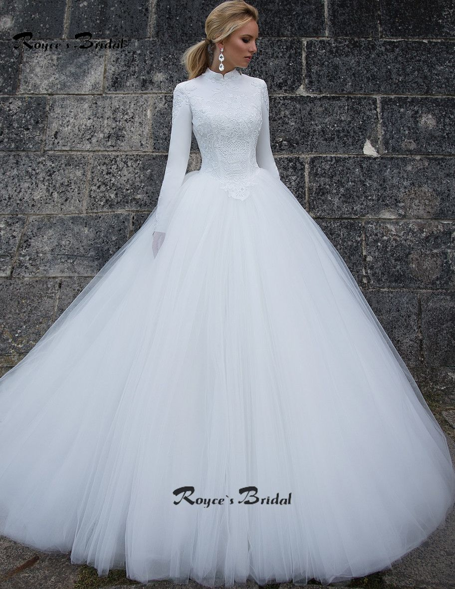 Barato Vestido de Casamento Muçulmano modesto Moda Gola Alta Manga ...