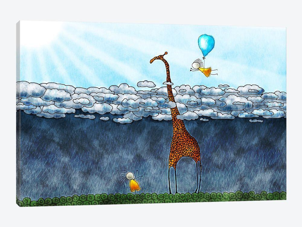 """Giraffe Over The Clouds Canvas Print 26"""" L x 18"""" H x 0.75"""" D"""