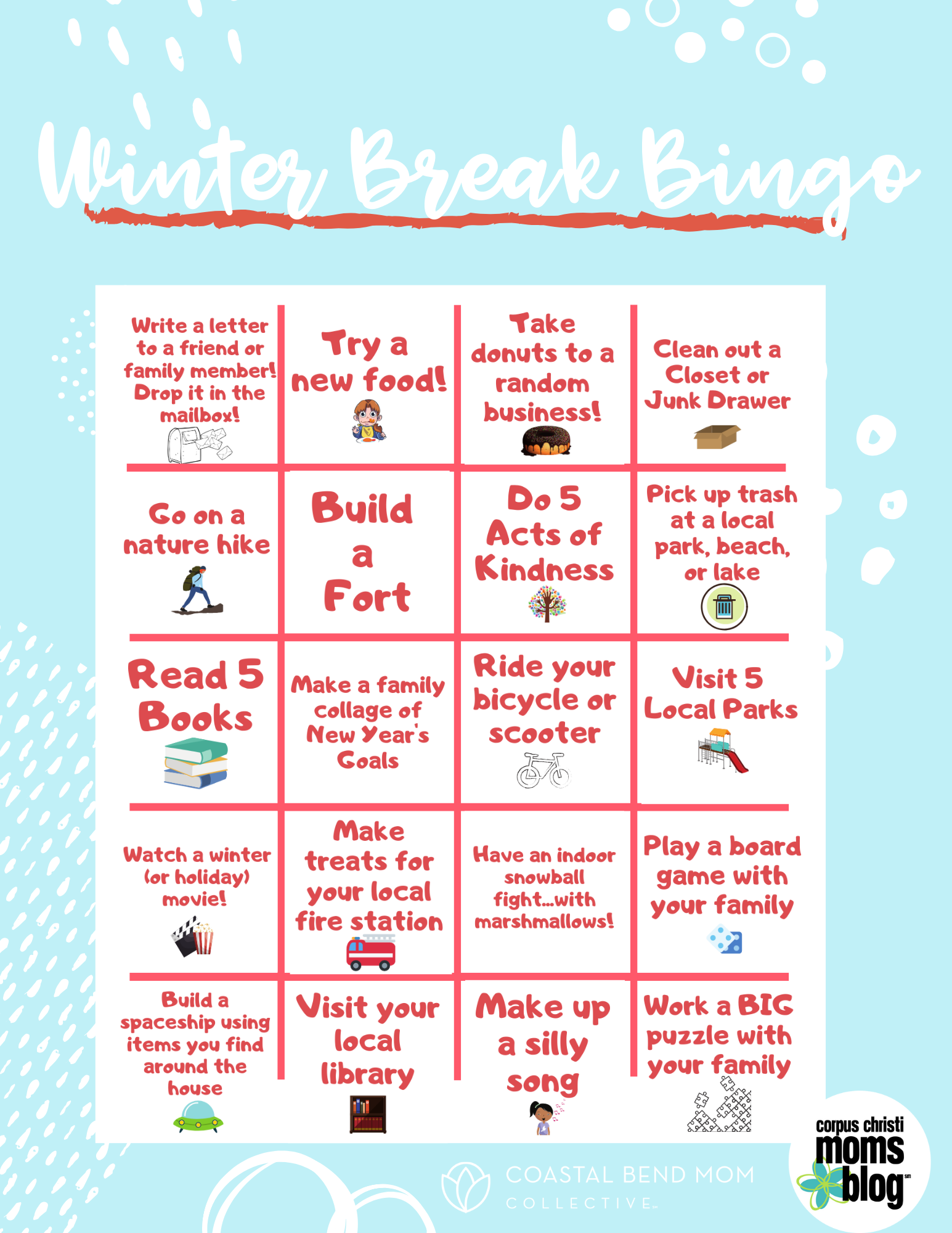 Boredom Buster Winter Break Bingo Game Free Printable