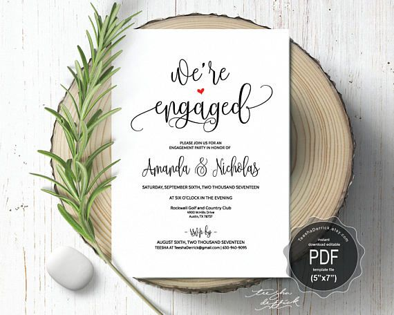 Engagement Invitation PDF Card Template Instant Download Printable