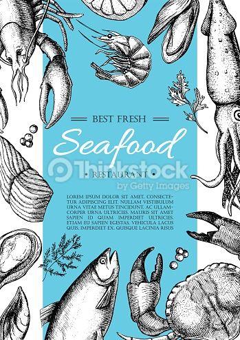 Vector Art  Vector vintage seafood restaurant flyer ILLUSTRATION - fresh invitation banner vector