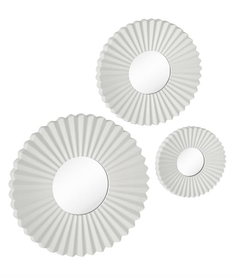 Looking for unique wall art? These miniature silver round mirrors will provide you with a more contemporary look. #interiordesign #wallart http://majesticmirror.com/products/2567-p/