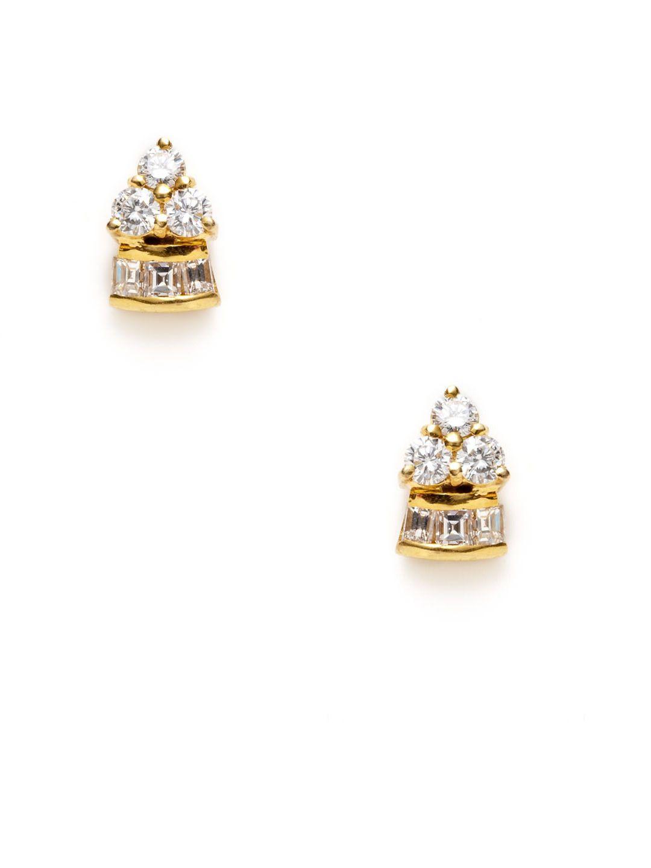 Estate Diamond & Gold Geometric Earrings by Estate Fine Jewelry at Gilt.  1500$