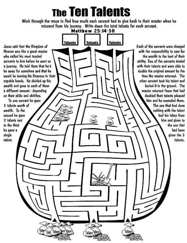Gelijkenis van de talenten doolhof // Parable of the talents maze ...