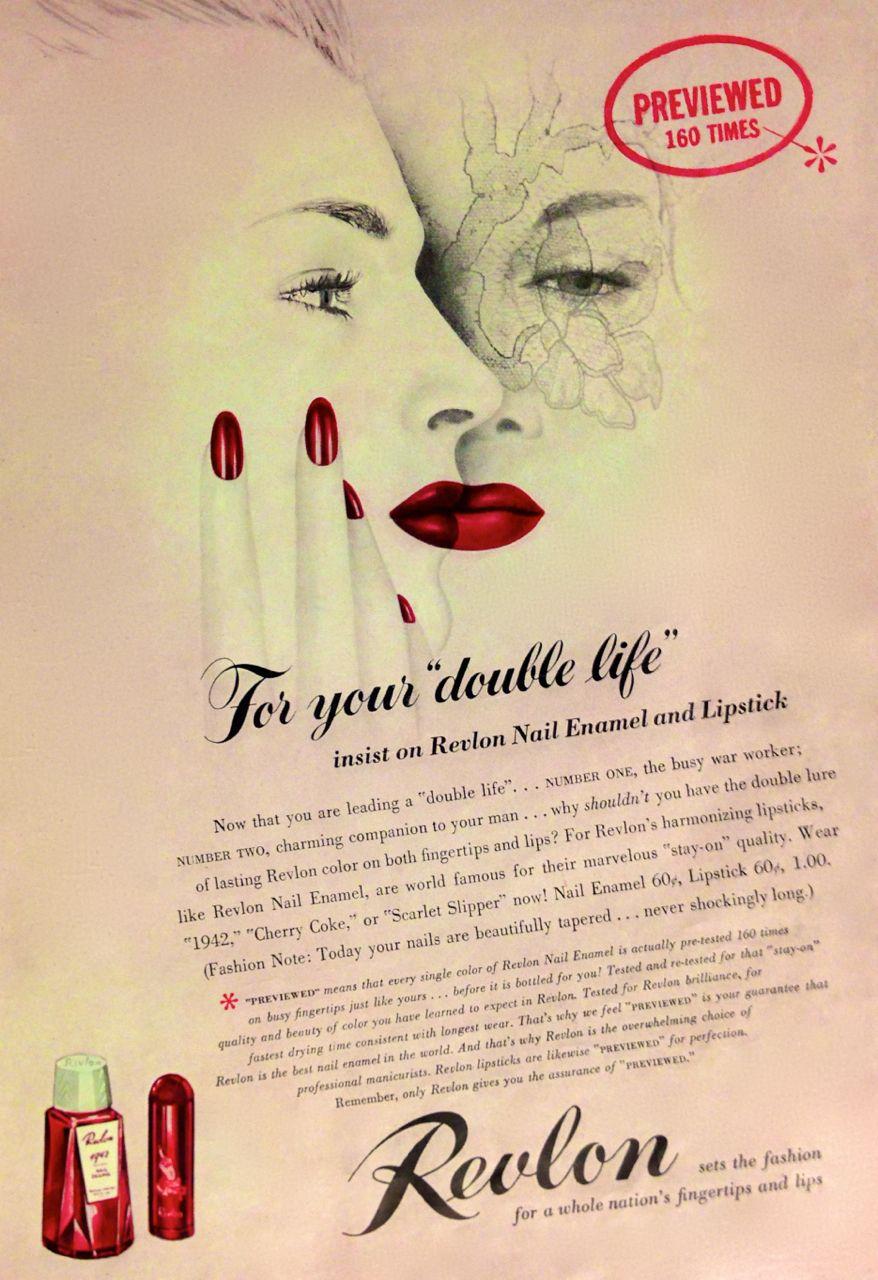 Revlon Lipstick & Nail Polish Ad, 1942 | Revlon | Pinterest | Revlon ...