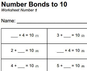 math worksheet : free printable mathematics worksheet  number bonds to 10  maths  : Maths And English Worksheets For Year 1