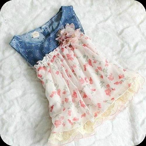 Infant Denim Floral Dress Girls Easter Dresses Trendy