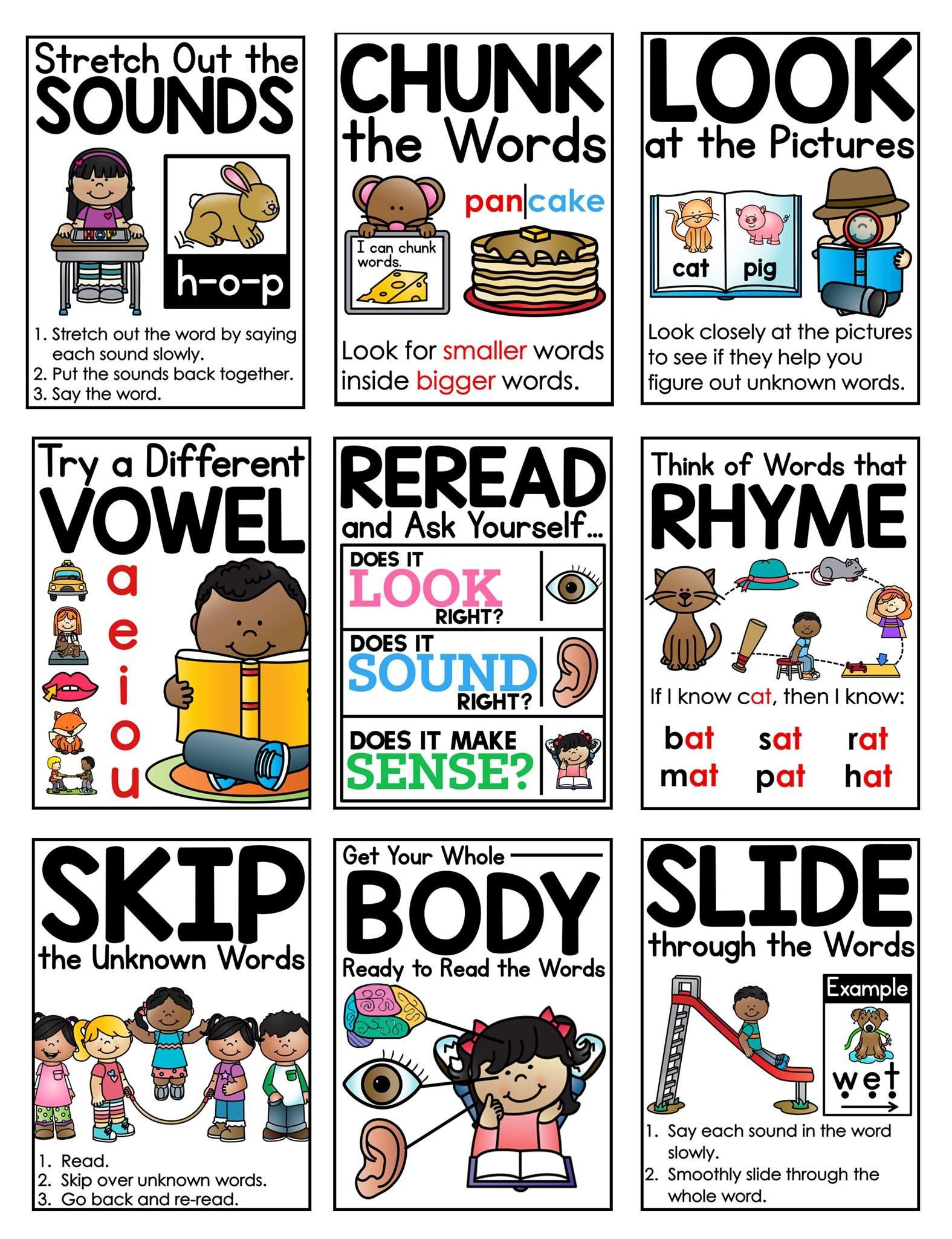 Mrs. Ricca's Kindergarten: Reading Strategies Posters |Kindergarten Reading Strategies Poster