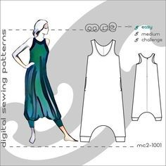 UK 10-12-14/ USA 6-8-10 Racerback Jumpsuit Harem-style/ Maternity-suitable/ Digital Sewing pdf-pattern for women >mc2-patterns< mc2-1001.1 #mumsetc