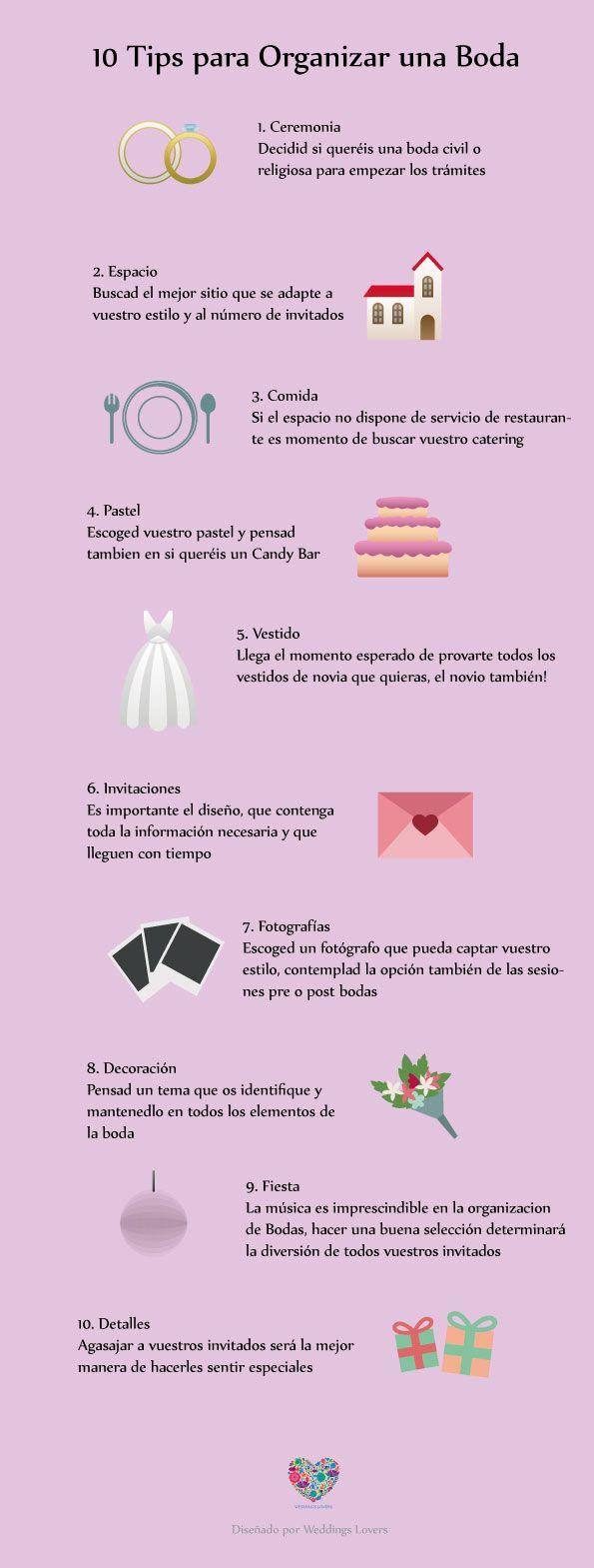 10 tips para organizar una boda | Weddings Lovers | Pinterest | Boda ...