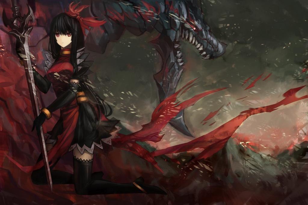 Blade Red Eyes Anime Anime Girls Dragon Slayer Black Hair 1200x800