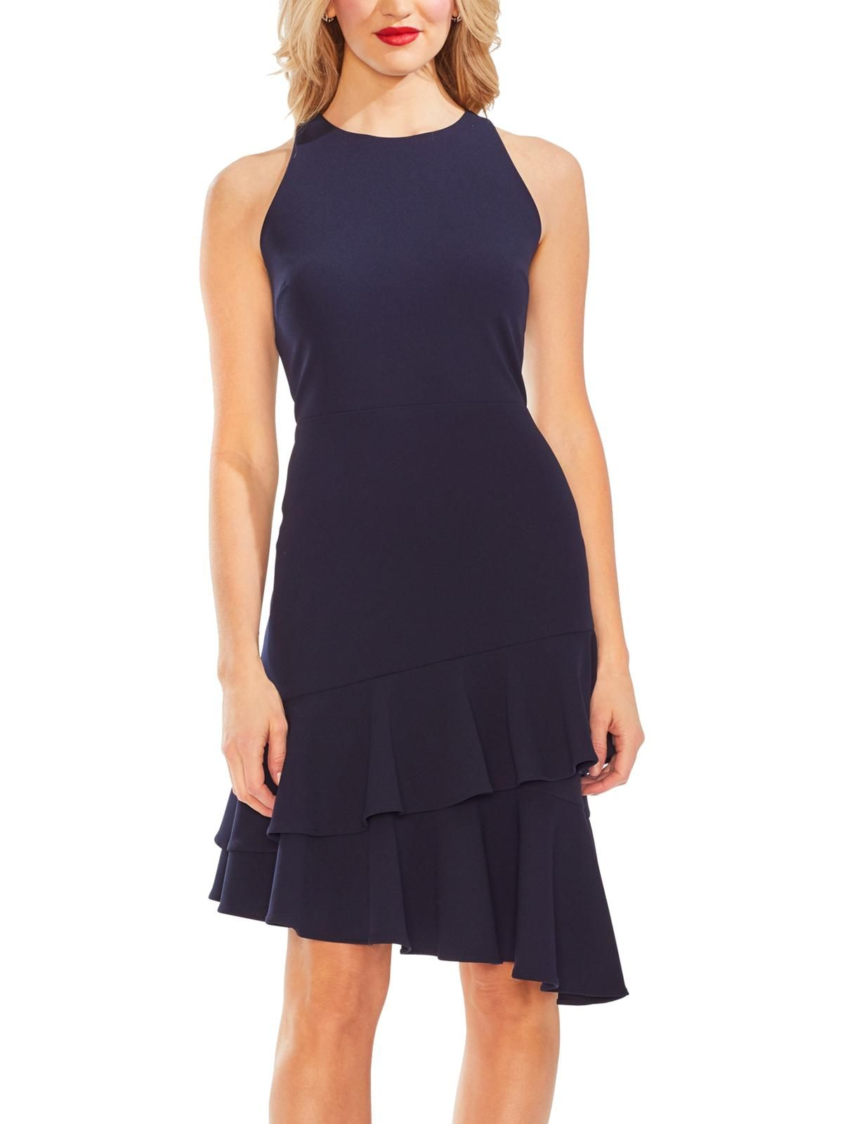 Free 2 Day Shipping Buy Vince Camuto Womens Tiered Ruffled Cocktail Dress At Walmart Com In 2021 Asymmetrical Hem Dress Hem Dress Navy Dress Outfits [ 1600 x 1200 Pixel ]
