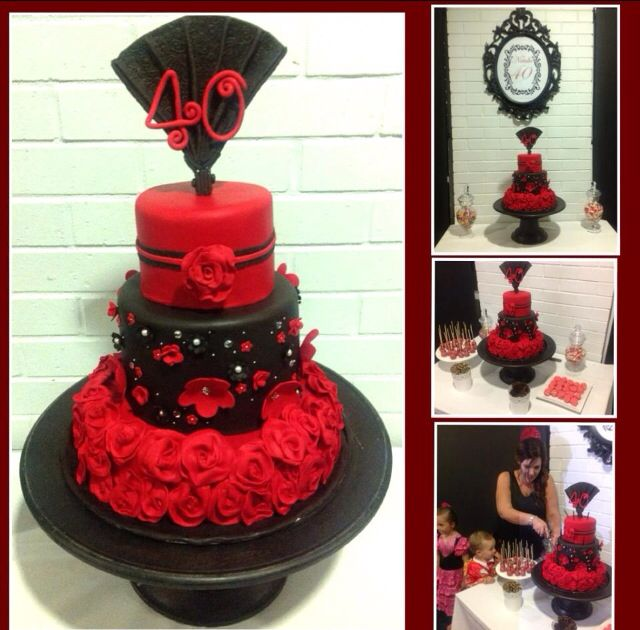 Red Black Spanish Flamenco Ladies 40 Birthday Cake