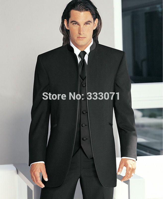 2015 tailor made Slim Fit suits for men Formal Black Groom Tuxedos ...
