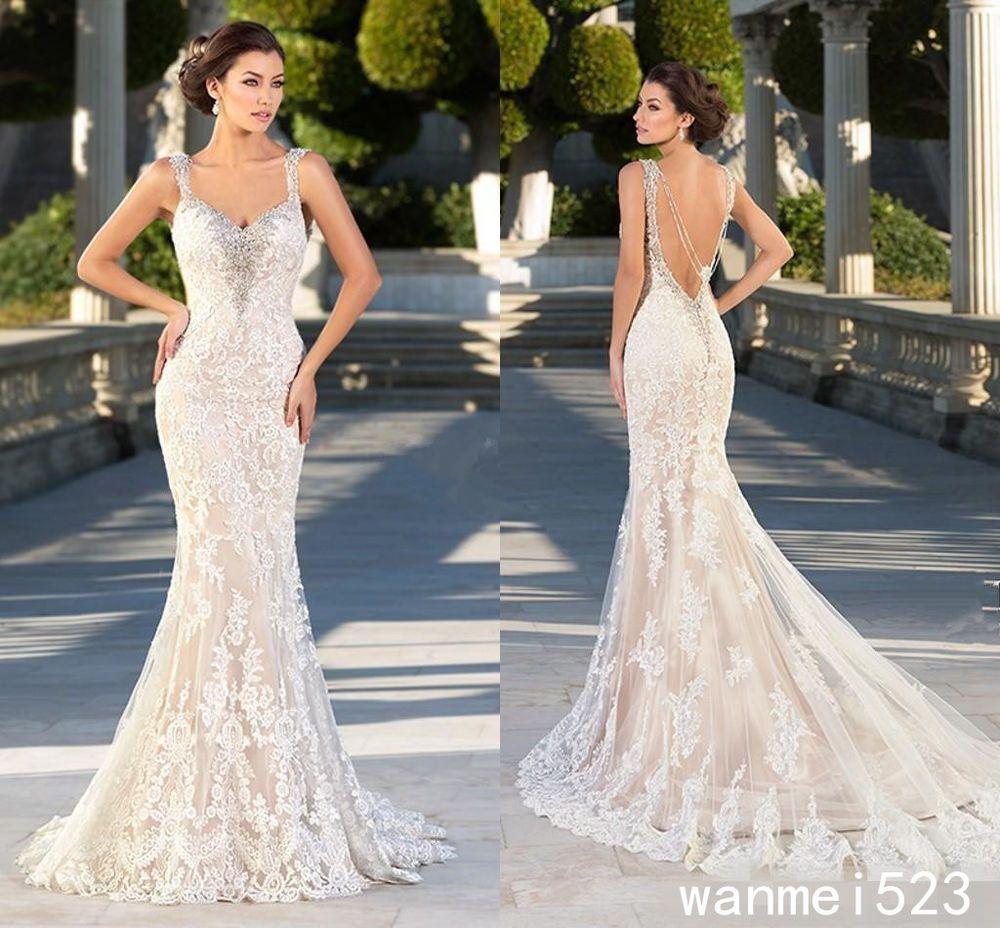 Champagne and ivory wedding dress  Mermaid Wedding Dress Sexy Vintage Champagne Ivory Bridal Gown